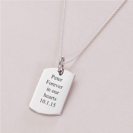 Sterling Silver Dogtag Necklace, Remembrance Jewellery